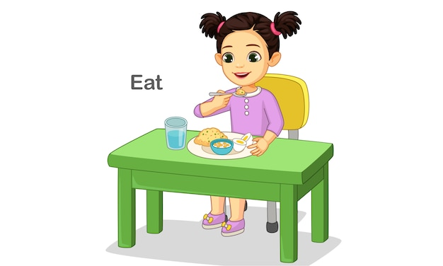 Menina bonitinha feliz comendo comida Vetor Premium