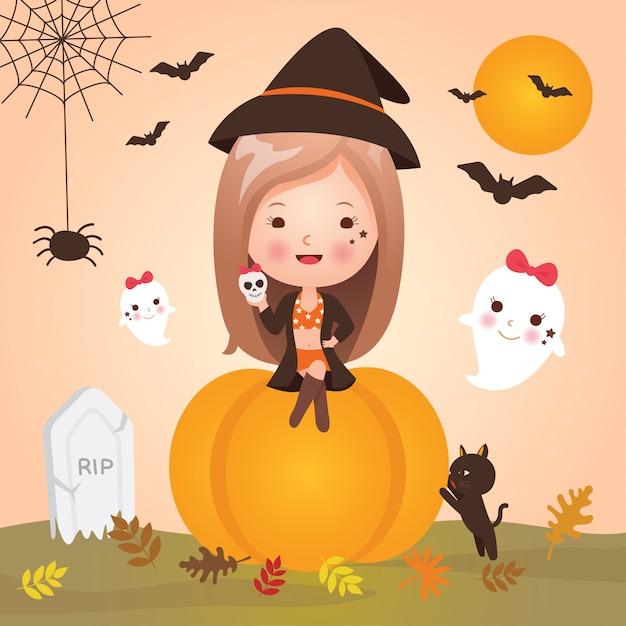 Menina bonitinha no halloween Vetor Premium