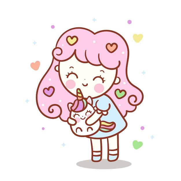 Menina bonito abraço pequeno unicórnio Vetor Premium