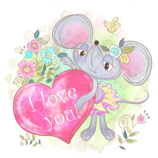 Menina bonito do rato com um grande coração. eu te amo. namorados. Vetor Premium
