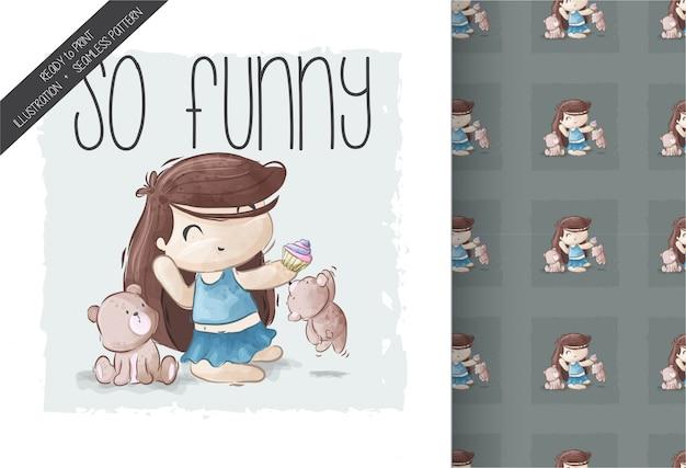 Menina bonito dos desenhos animados, brincando com padrão sem emenda de animais de estimação Vetor Premium