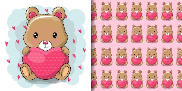 Menina bonito dos desenhos animados urso de pelúcia com coração Vetor Premium