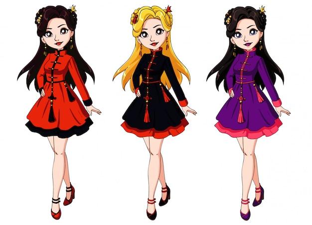 Menina bonito dos desenhos animados, vestido tradicional chinês. Vetor Premium