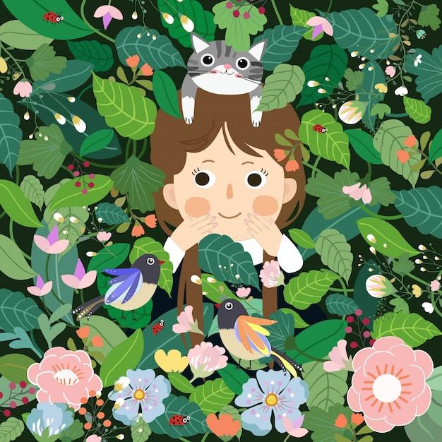 Menina bonito que tem o divertimento nos desenhos animados do jardim. Vetor Premium