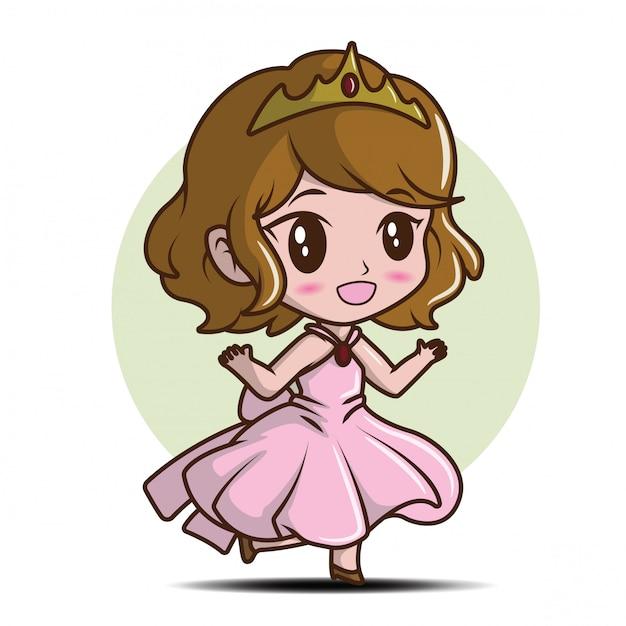 Menina bonito que veste uma princesa., conceito dos desenhos animados do conto de fadas. Vetor Premium