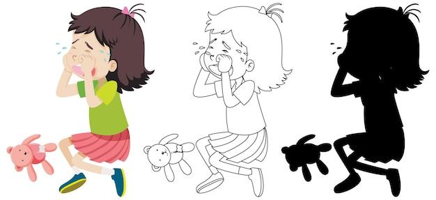 Menina chorando com seu contorno e silhueta Vetor grátis