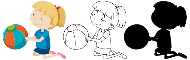 Menina com a bola em cores, contornos e silhueta Vetor grátis