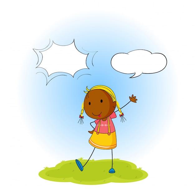 Menina, com, balão fala Vetor grátis