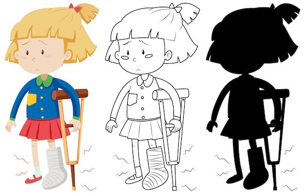 Menina com bandagem de perna quebrada elenco andando usando muletas na cor e no contorno e silhueta Vetor grátis
