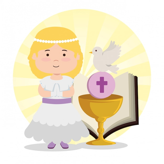 Menina com cálice e bíblia para a primeira comunhão Vetor grátis