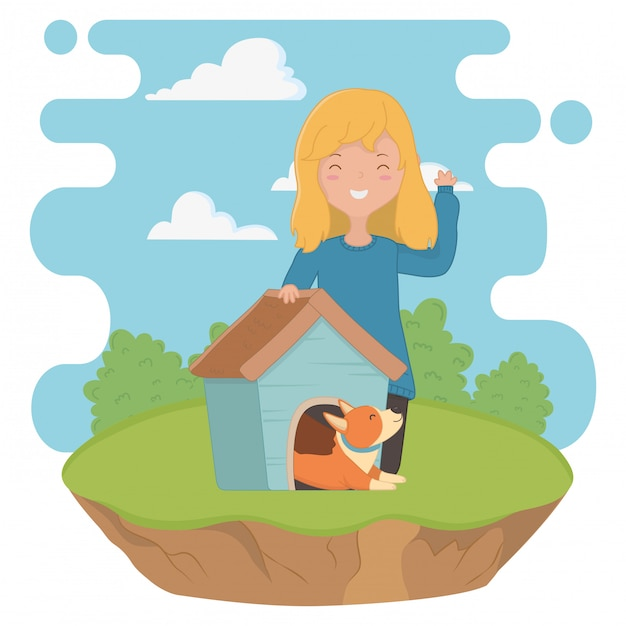 Menina, com, cão, caricatura, desenho Vetor grátis