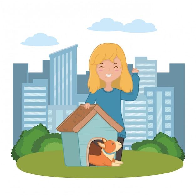 Menina, com, cão, de, caricatura Vetor grátis