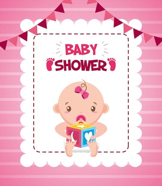 Menina com cartão de chuveiro de bebê de cubo Vetor grátis