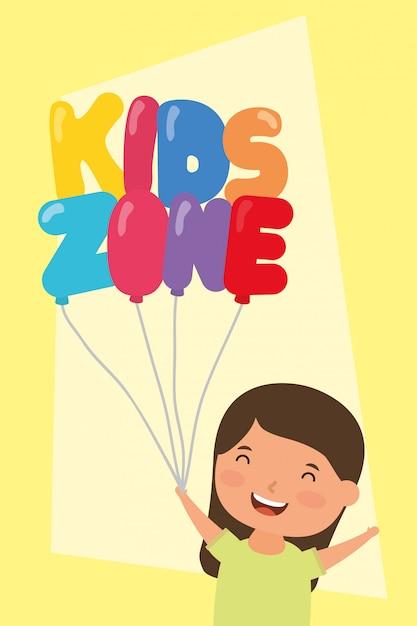 Menina com crianças zona balões hélio Vetor Premium
