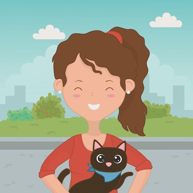 Menina, com, gato, caricatura, desenho Vetor grátis
