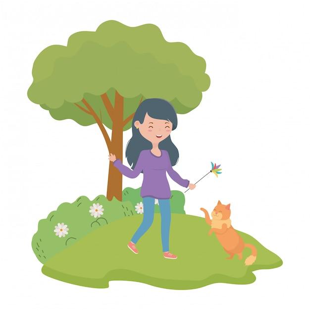 Menina, com, gato, caricatura Vetor grátis