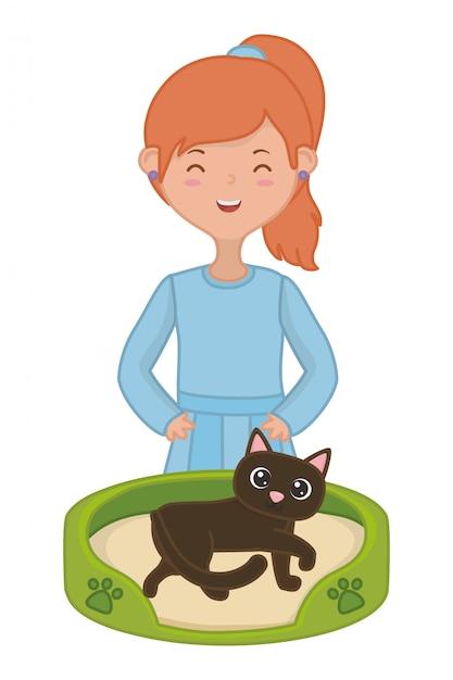 Menina, com, gato, de, caricatura Vetor grátis