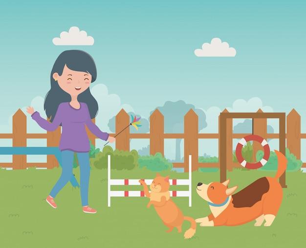 Menina, com, gato, e, cão, caricatura, desenho Vetor grátis