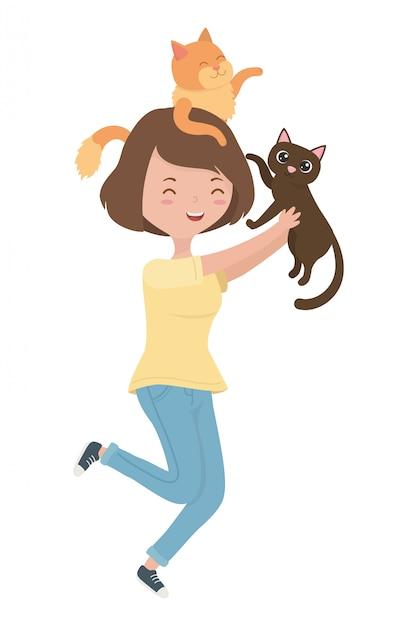 Menina, com, gatos, de, desenhos animados Vetor grátis
