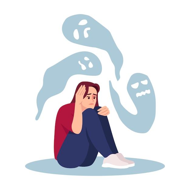 Menina com ilustração semi plana de transtorno mental Vetor Premium