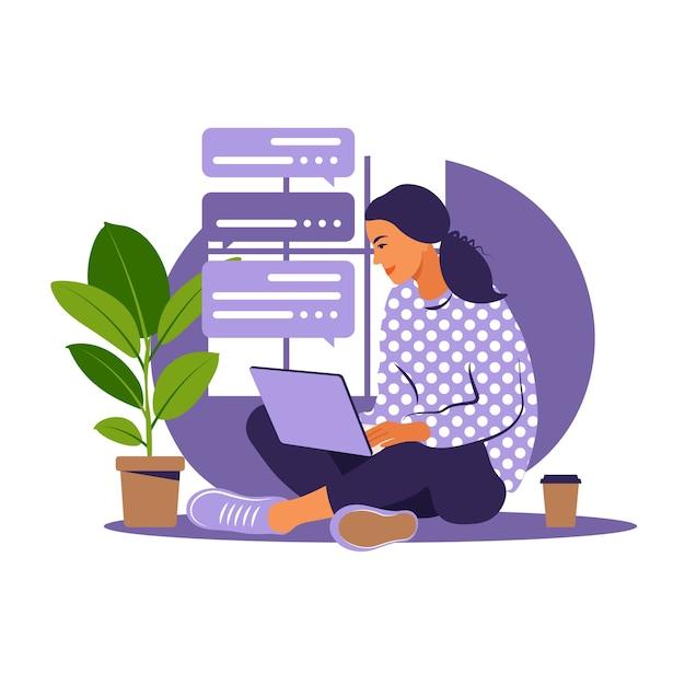 Menina com laptop na poltrona. trabalhando em um computador. freelance, educação online ou conceito de mídia social. trabalhar em casa, trabalho remoto. estilo simples. Vetor Premium