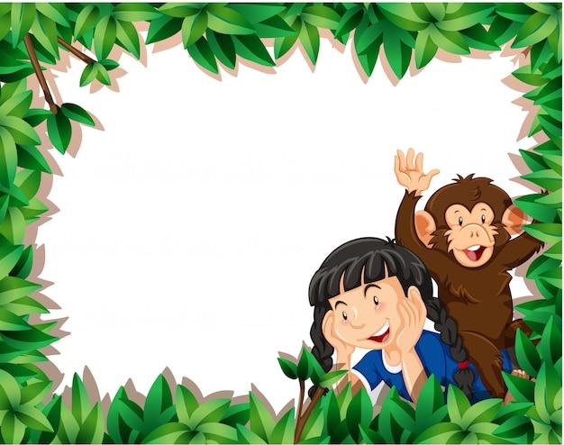 Menina com macaco no fundo de quadro de natureza com copyspace Vetor grátis