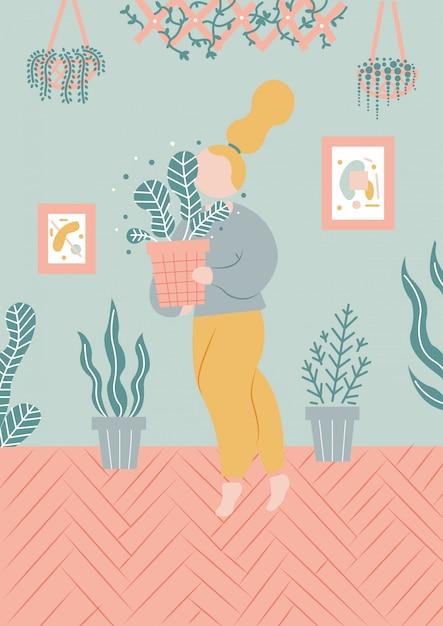 Menina, com, plantas, ilustração Vetor Premium