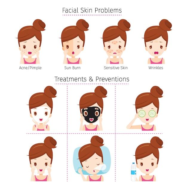 Menina com problemas no rosto e método de tratamento e prevenção Vetor Premium