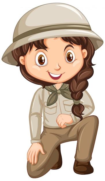Menina com roupa de safari no isolado Vetor grátis