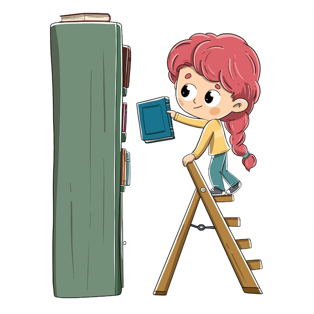 Menina com um livro, colocando-o na estante Vetor Premium