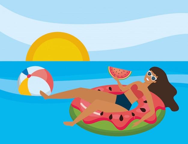 Menina, com, verão, swimwear Vetor grátis