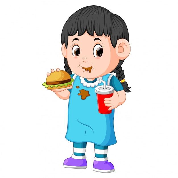 Menina, comer, rapidamente, alimento Vetor Premium