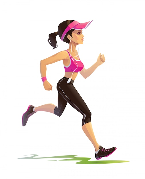 Menina correndo Vetor Premium