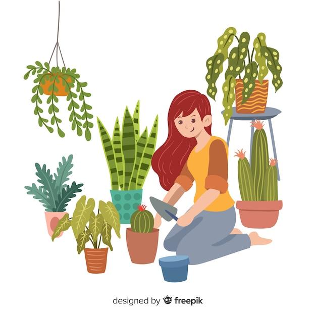 Menina cuidando de plantas Vetor grátis