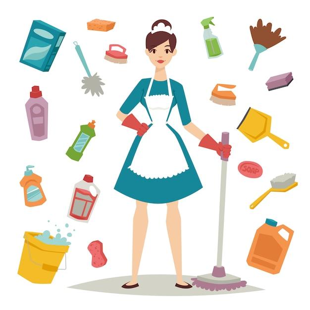 Menina da dona de casa e ícone home do equipamento da limpeza na ilustração lisa do estilo. Vetor Premium