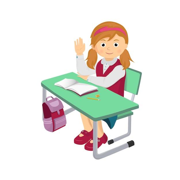 Menina da escola em uma mesa de escola e levantou a mão dela. Vetor Premium