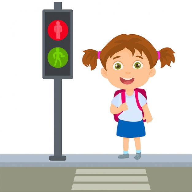 Menina da escola que cruza regras permanentes pedestres Vetor Premium