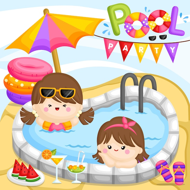 Menina da festa na piscina Vetor Premium