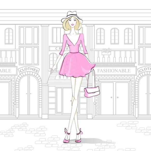 Menina da moda na rua Vetor Premium
