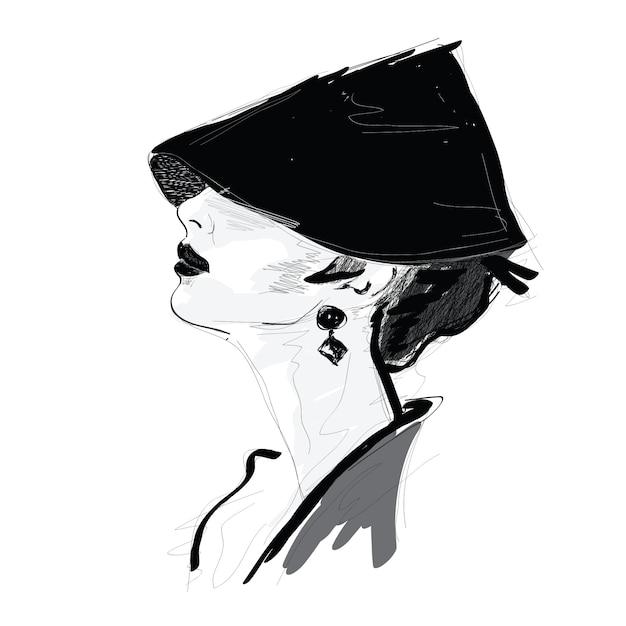 Menina da moda no estilo de desenho. Vetor Premium