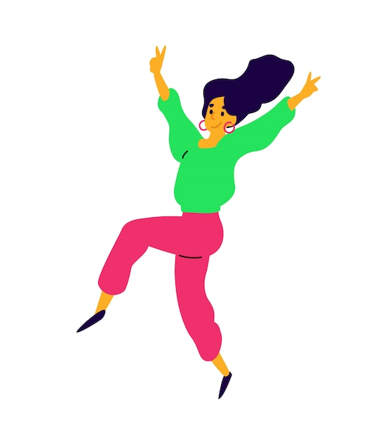 Menina dançando alegre. Vetor Premium