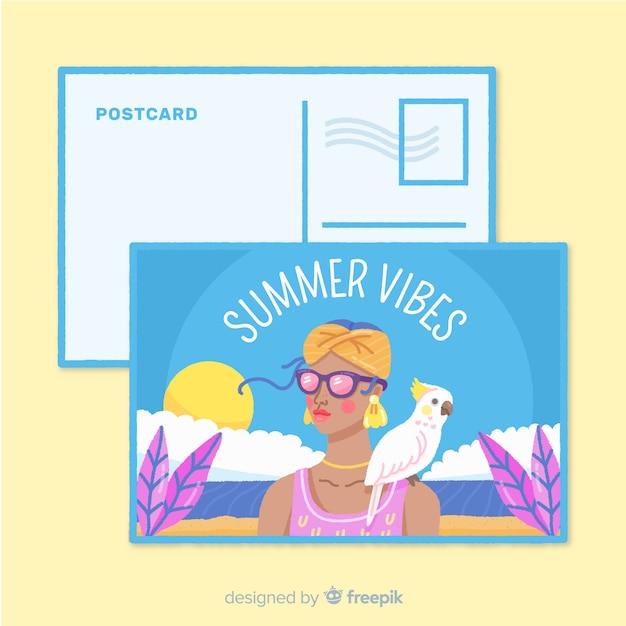 Menina das férias de verão com cartão do papagaio Vetor grátis