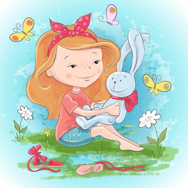 Menina de cartão postal com uma lebre de brinquedo e borboletas. mão, desenho, vetorial, ilustração Vetor Premium