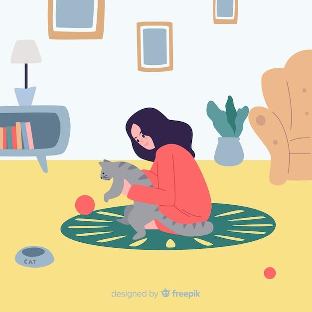Menina desenhada de mão em casa fundo Vetor grátis