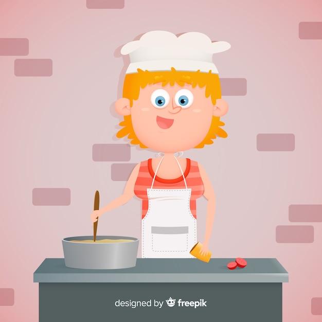 Menina desenhada mão cozinhar fundo Vetor grátis