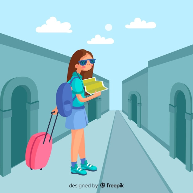 Menina desenhada mão viajando fundo Vetor grátis