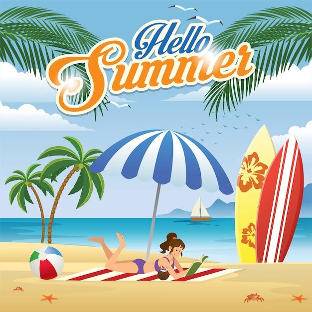 Menina, desfrutando, praia, em, verão Vetor Premium