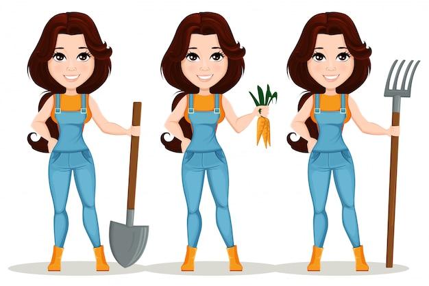 Menina do fazendeiro vestida em macacão de trabalho. conjunto Vetor Premium