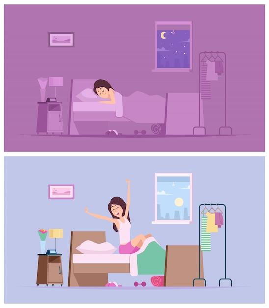 Menina dormindo acorde a manhã alegre mulher, estendendo-se em ilustrações dos desenhos animados de cama Vetor Premium