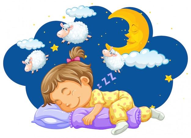Menina dormindo com a contagem de ovelhas em seu sonho Vetor grátis